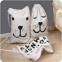 Cartoon Kids Toy Storage Bag Cotton Linen Bags Children Room Clothes Laundry Ba Organizer Drawstring Folding Baby Hanging 60XX