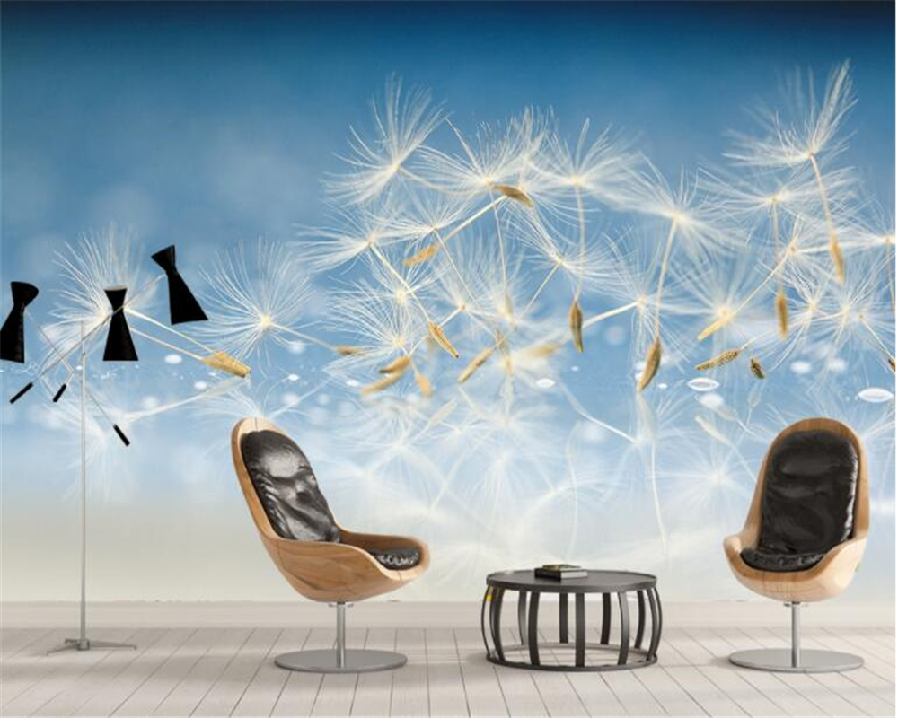 Us 8 85 41 Off Beibehang Wallpaper Hd Poetic Aesthetic Dandelion Seed Closeup Modern Minimalist Background Wall Papel De Parede Papier Peint In