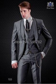 2017 Bespoke Mens Italian Suits Slim Fit Shiny Grey Men Wedding Suit Groom Tuxedos For Men Groomsmen Prom Suits 3 Pieces