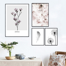 Flower Posters And Prints Feather Canvas Print Dandelion Painting Nordic Minimalism Wall Art Pictures Unframed