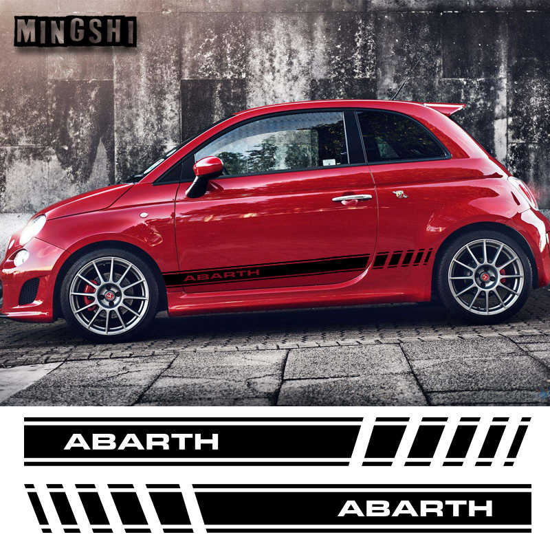 1 Pair 2 Sides Vinyl Car Styling Abarth Side Stripes Skirt Sticker Decals Wraps Body Stickers Graphics For FIAT 500