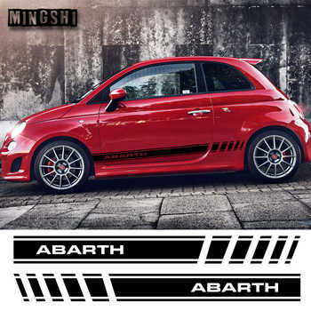 1 Pair 2 Sides Vinyl Car Styling Abarth Side Stripes Skirt Sticker Decals Wraps Body Stickers Graphics For FIAT 500 - DISCOUNT ITEM  30% OFF All Category