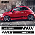 1 par, 2 lados, vinilo, estilo de coche, Abarth, rayas laterales, falda, pegatinas, envolturas, pegatinas para el cuerpo, gráficos para FIAT 500