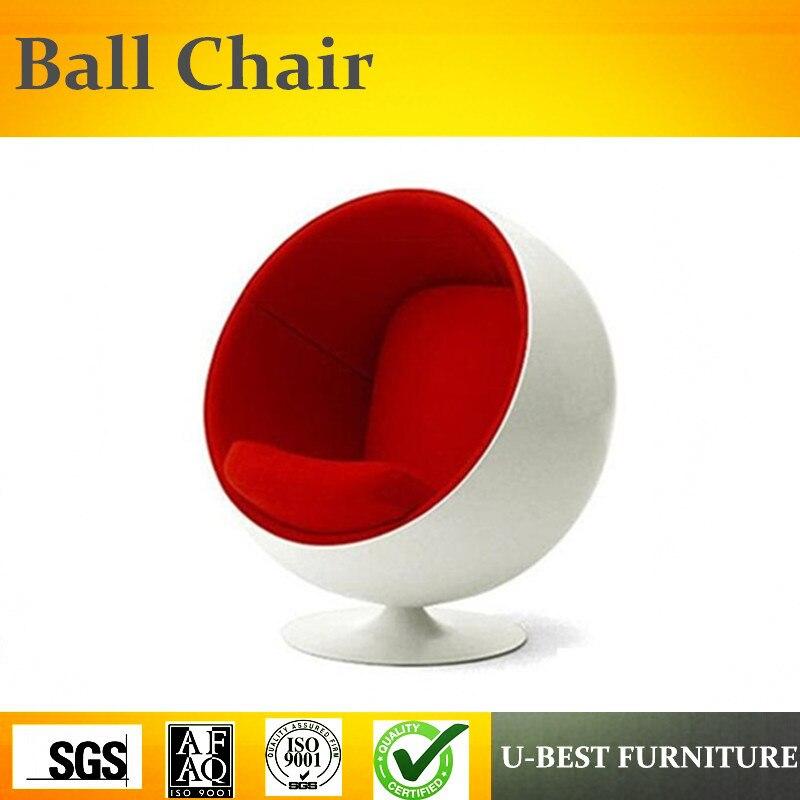U-BEST de haute qualité populaire loisirs mobilier de salon tissu En Fiber De Verre ball chair, hôtel salon chaise