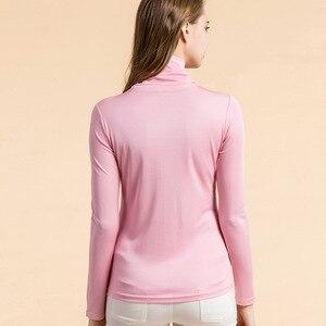 Image 5 - Рубашка SuyaDream Женская шелковая, водолазка с длинным рукавом, однотонный пуловер, приталенная нижняя рубашка, весна осень 2020, XXXL