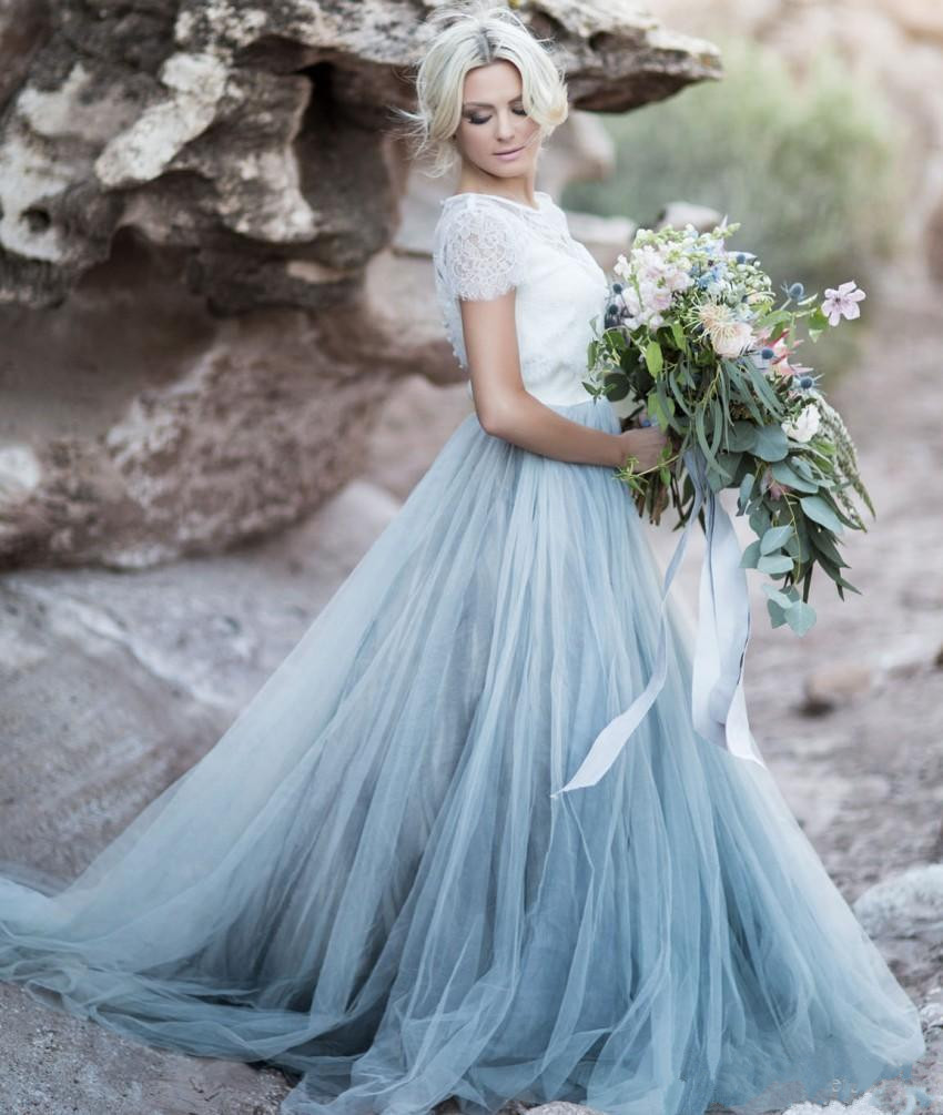 Light blue wedding gown white lace sheer detachable jacket crop top light blue wedding gown white lace sheer detachable jacket crop top short sleeves tulle a line two toned bridal dress colored br in wedding dresses from junglespirit Images