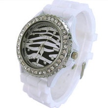 Hot Sales Popular New Ladies Candy Color Zebra Dial Watch Silicone Crystal Rhinestone Jelly Wrist Watches NO181 5UXF