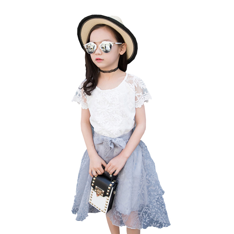 Girl Kid Clothes 2Pcs Lace Clothing For Children Summer Tops+Beaded Lacing Skirt Flower Toddler Kids Girl Set Outing Party Set 2pcs children outfit clothes kids baby girl off shoulder cotton ruffled sleeve tops striped t shirt blue denim jeans sunsuit set