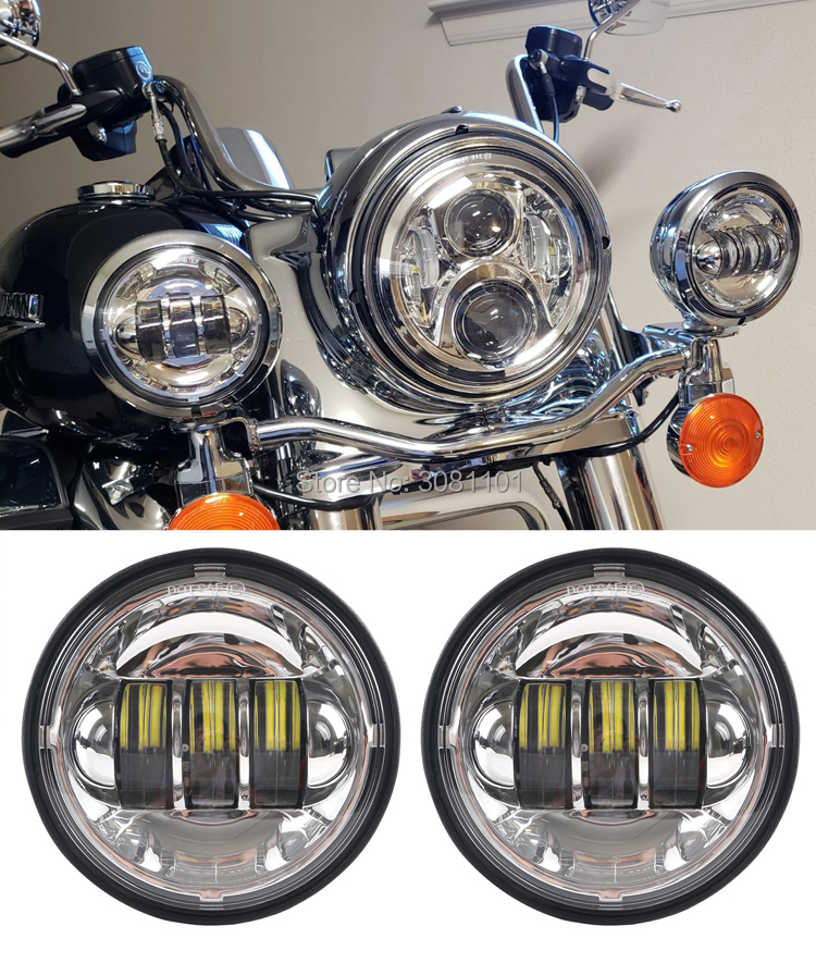 "Image 3 - 4.5"" 4 1/2"" 30W LED Projector Fog Passing Light for Harley Road King Street Glide Heritage Softail Electra Glide Touring-in Car Light Assembly from Automobiles & Motorcycles"