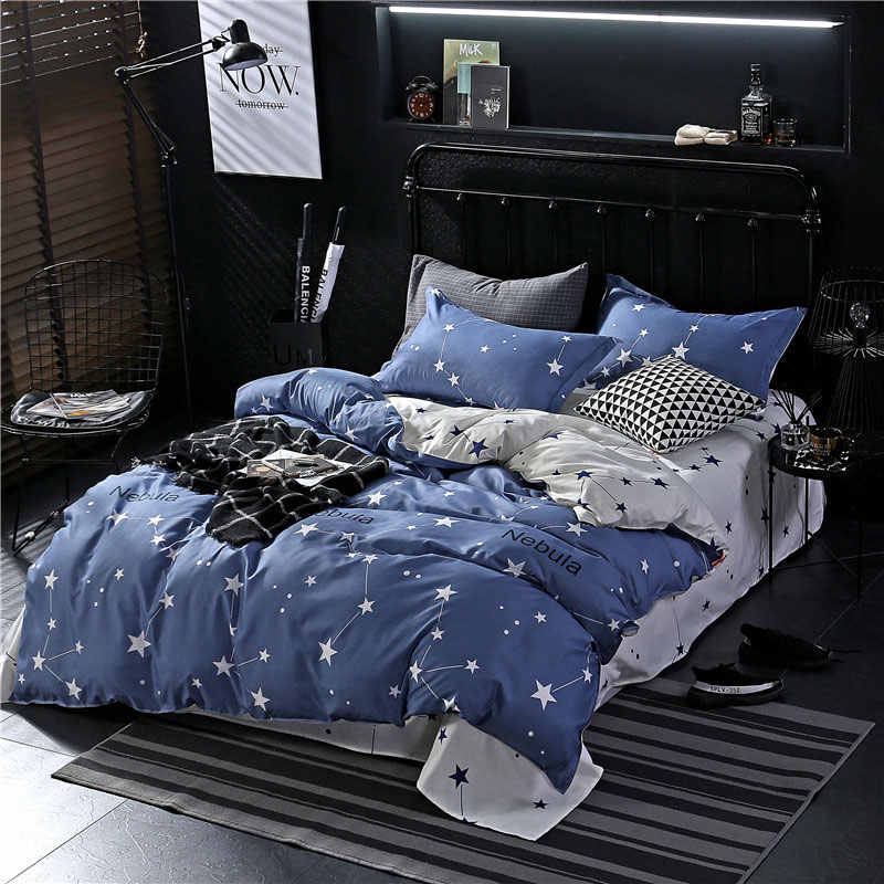 Star 4pcs Girl Kid Bed Cover Set Cartoon Duvet Cover Adult Child Bed Sheets And Pillowcases Comforter Bedding Set 2TJ-61002