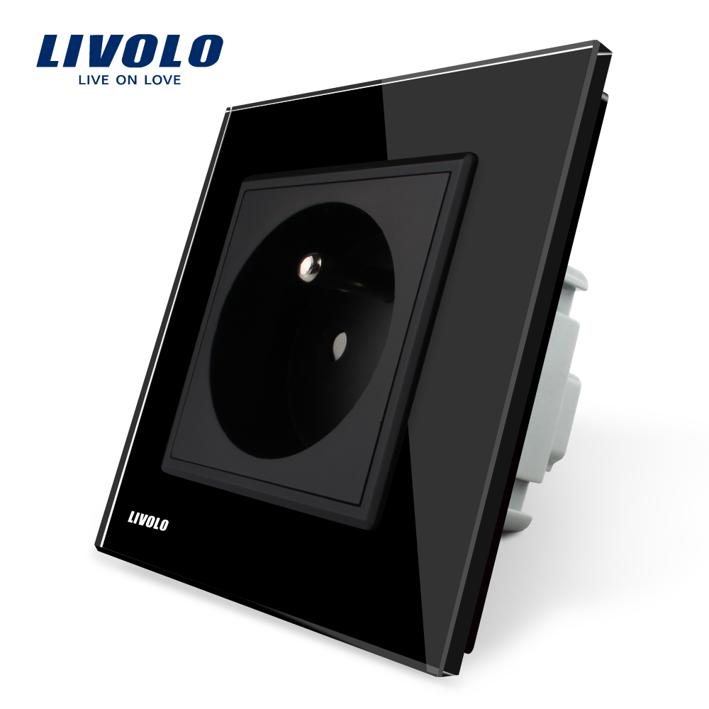 Livolo New Arrival, New Outlet, French Standard Wall Power Socket, VL-C7C1FR-12,Black Crystal Glass Panel, AC 110~250V 16A