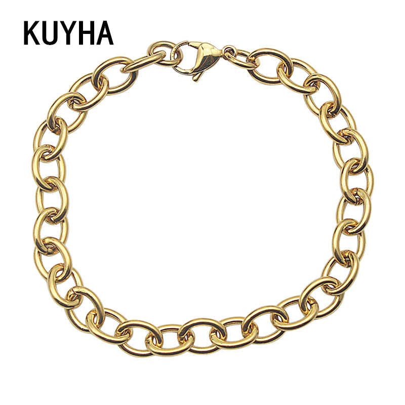 Fashion Chain Bracelet Bangle Punk Style 316L Stainless Steel Link Chain Cool  Men Boys Wristband Jewelry