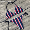 2018 Women Bandeau Bikini Reversible Striped Swimsuit Strappy Swimwear Biquini BK1818