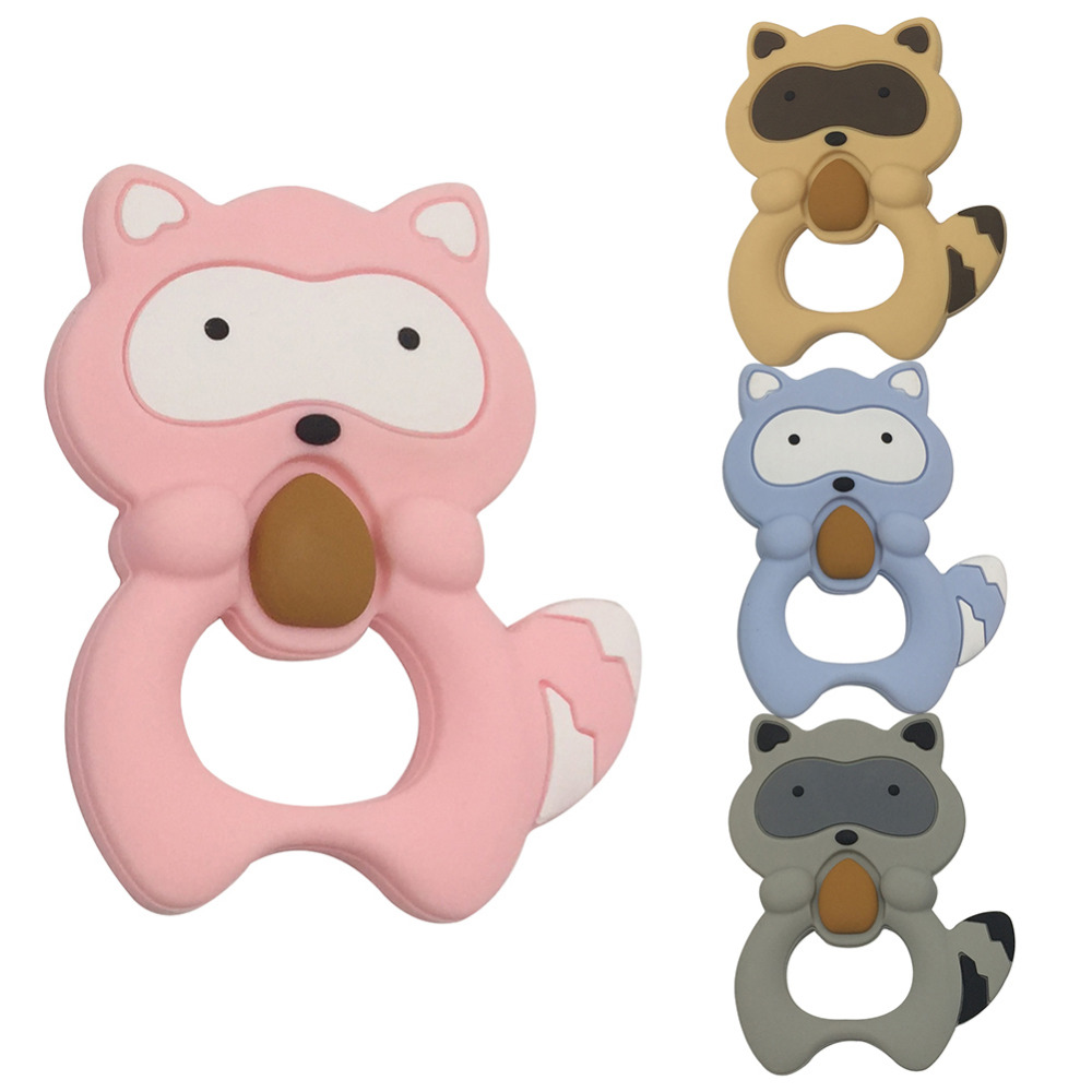 Newborn Baby Teething Toys Baby Food Grade Silicone Teether Grinding Cartoon Small Raccoon Animal Teether for Infant Dental Care