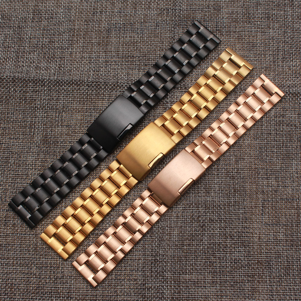 Watchstrap 18mm 20mm 22mm 24mm Black Metal Brushed Watch Bracelet Stainless Steel WatchBand Flip Lock Buckle fast delivery 2017 stylish 8 led blue light digit stainless steel bracelet wrist watch black 1 cr2016
