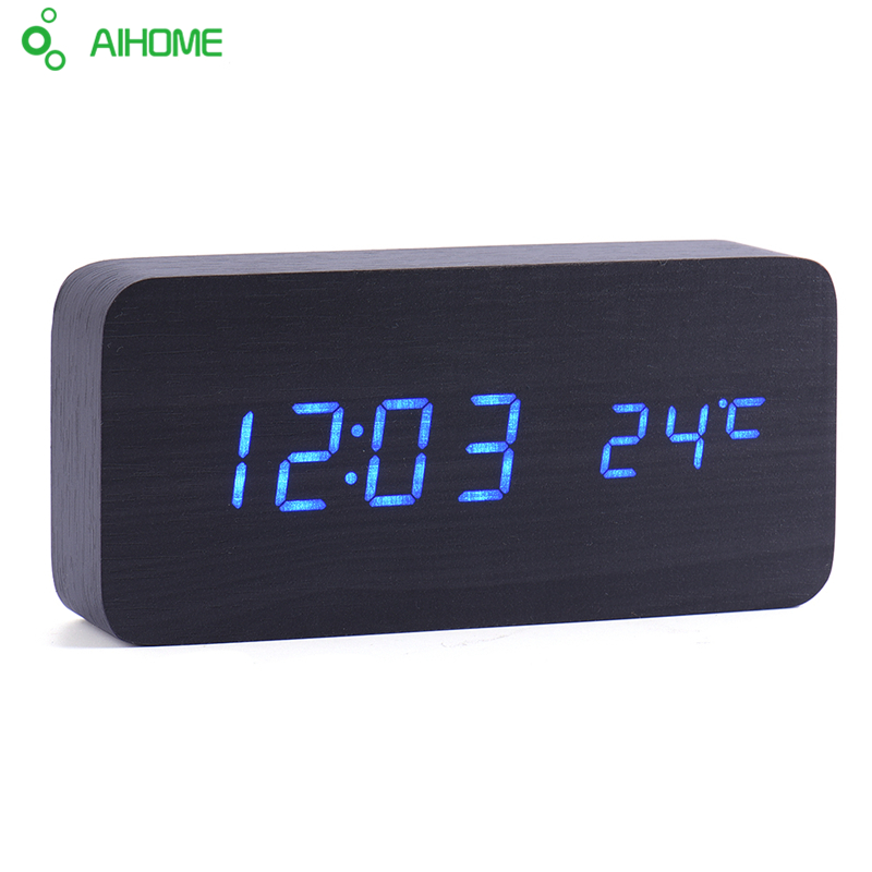 Led Wooden Clock New Designer Thermometer Led Digital