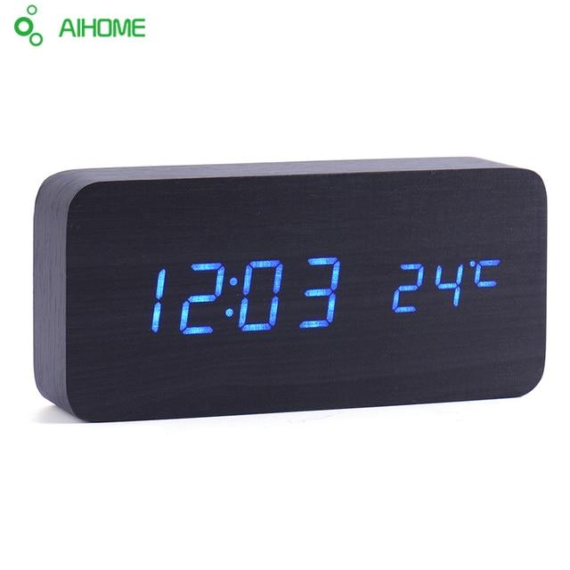 US $12 8 36% OFF Led Wooden Clock New Designer Thermometer LED Digital  Clock Desktop Table Clock Sound Control Alarm Clocks 4 Color Word Shows-in