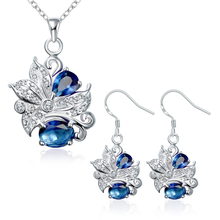 hot deal buy garilina brand designer silver deep blue cz choker pendant earrings fashion jewelry sets for women s2022