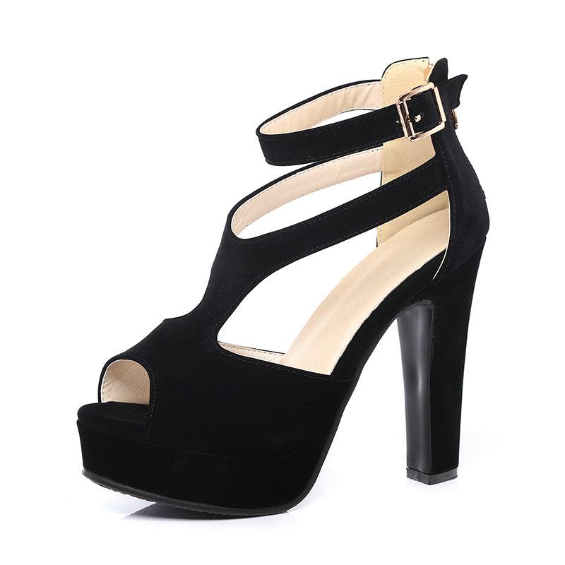 QUTAA 2017 Women Pumps Summer Black Ladies Shoe Square High Heel Peep Toe PU Leather Zipper Woman Wedding Shoes Size 34-43 13