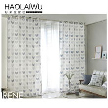 Window Curtain Living Room 3D photo Cartoon Love Heart Print Curtains living Child Tulle Curtain Kids stitches for curtain sale