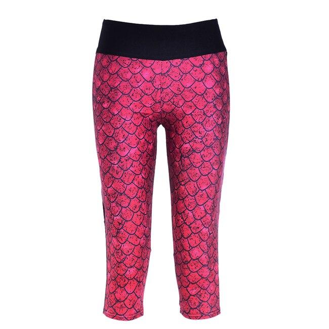 9061f045a Nuevo 2016 mujeres sexy capris Pantalones mujer legging rojo escalas sirena  sexy digital impresión mujer alta cintura Calf-longitud pantalones