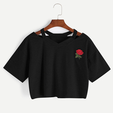 2017 New Women Short T Shirt Summer Fashion Sexy Hollow Out Short Sleeve Casual Harajuku Crop Top Rose Embroidery T-shirts Femme