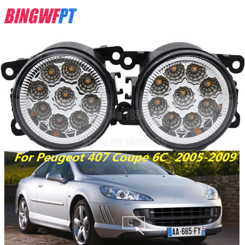 1Pair High Quality fog light LED Lamp white yellow 33900-STK-A11 For <font><b>Peugeot</b></font> <font><b>407</b></font> <font><b>Coupe</b></font> 6C_ 2005-2009 image
