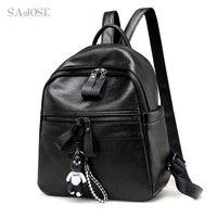 Women Leather Backpack For Teenage Girls Black Fashion Medium Student Laptop Backpack Cartoon Pendant Shoulder School