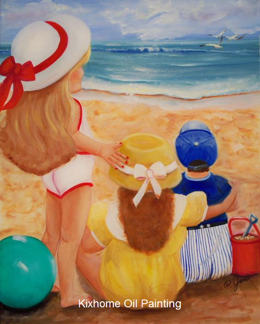 Kids Beach Party Large Canvas Modern Arts Oil Paintings For Hotelbistrossummer Landscapes Painting And Crafts