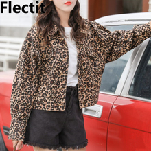 Flectit Women Leopard Denim Jacket Loose-Fit Long Sleeve Bomber Jackets