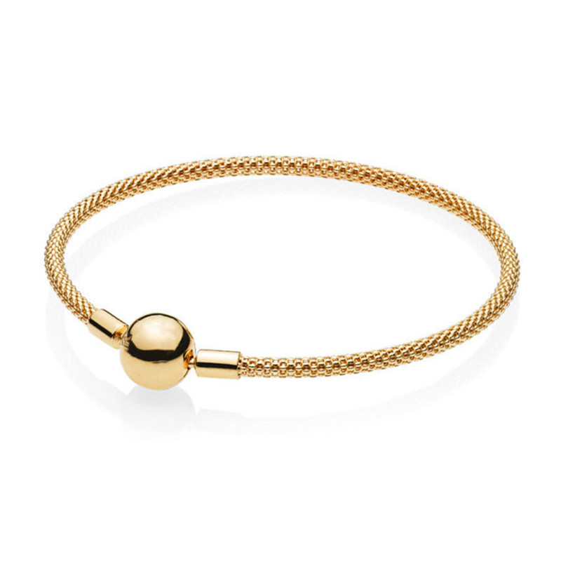 2019 New 925 Sterling Silver Bead Charm Chain Fit Original Branded Shine Gold Mesh Bracelet For Women DIY Brandedan Jewelry Gift in Charm Bracelets from Jewelry Accessories