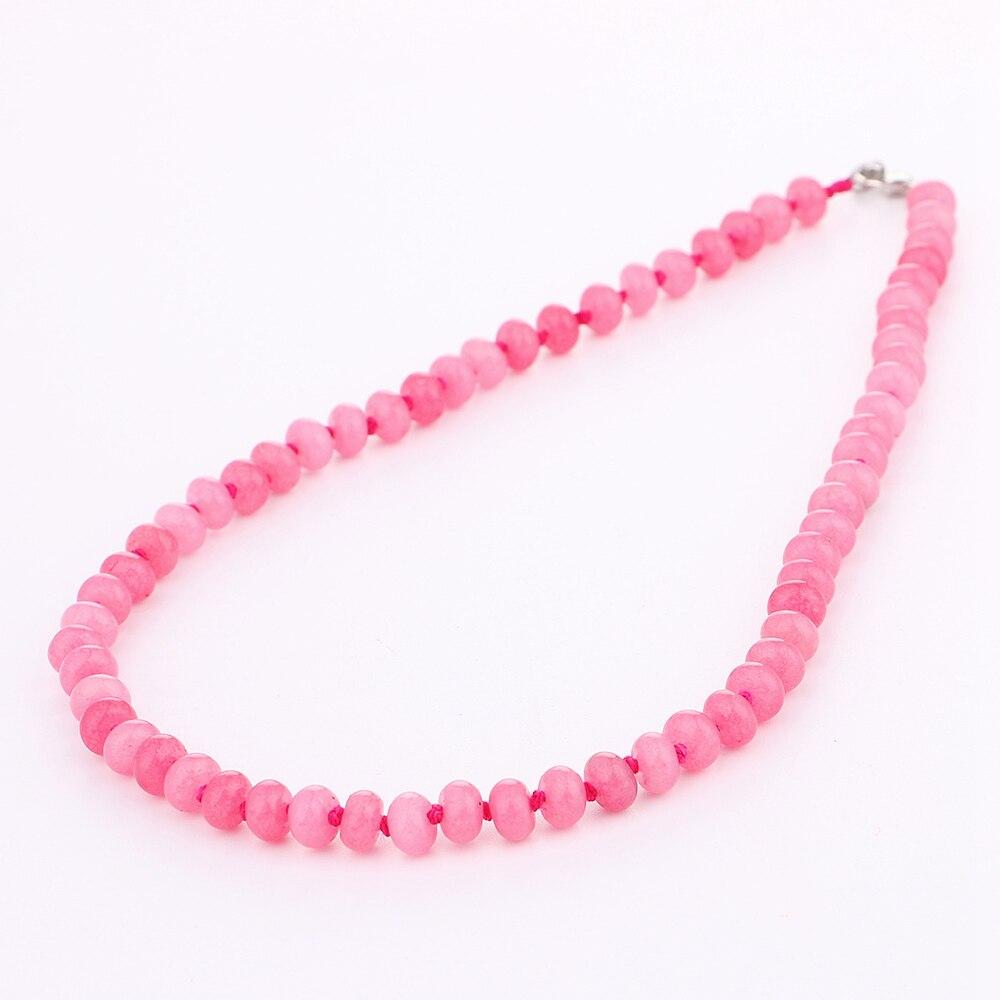 Yumten mujeres rosa collar de cadena corta joyería de piedra natural - Joyas - foto 3