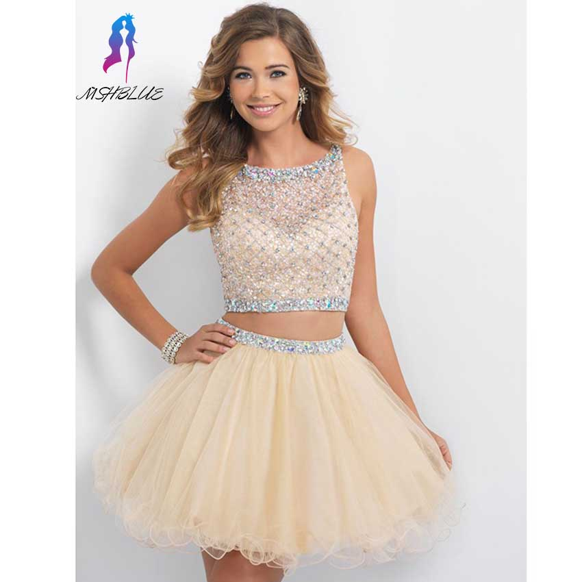 Weddings & Events Fashion Style Cheap Mint Green Short Homecoming Dresses Chiffon Crystals Beaded Knee Length Party Dress Mshblue