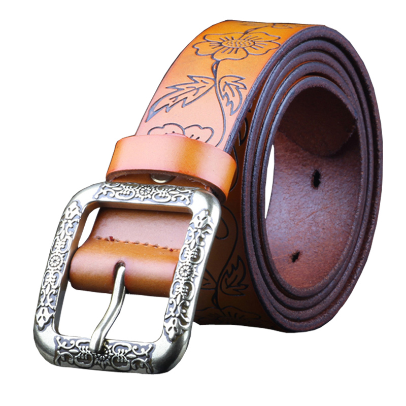 Fashion Vintage Genuine leather belt woman Luxury Designer wide Floral belts women Second Layer Cow skin