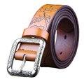 Moda Vintage correa de cuero Genuina mujer de Lujo de Diseño de ancho cinturones Florales mujeres Segunda Capa de piel de Vaca correa para Los Pantalones Vaqueros femeninos