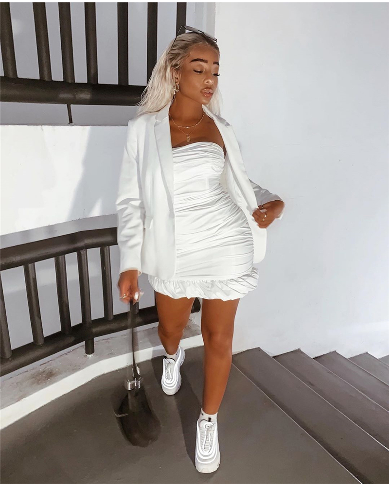 NewAsia Double Layers White Summer Dress 19 Women Strapless Ruched Bodycon Dress Elegant Club Sexy Party Dress Tight Dresses 21