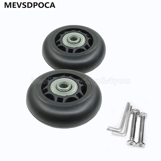 MEVSDPOCA 2pcs 60*18mm Luggage Suitcase Replacement Wheels Axles Repair Wrench