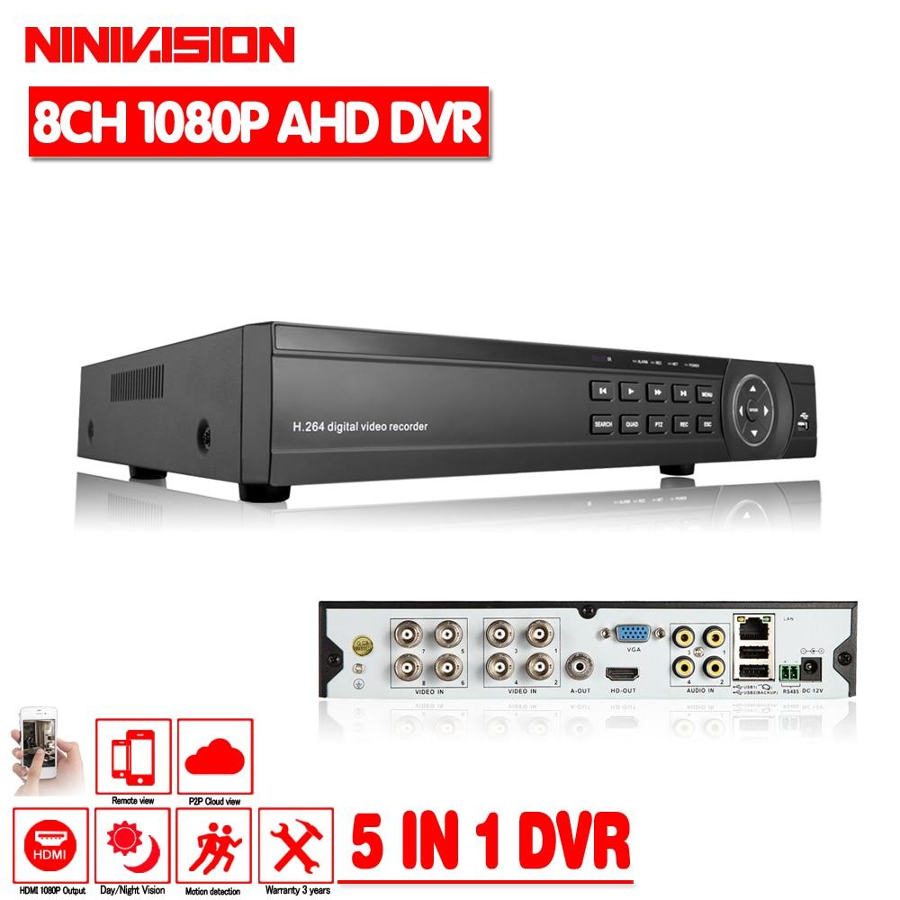 1080 P AHD DVR 8 канал HDMI 1080 P 8ch Гибридный AHD DVR HVR NVR 5 в 1 Onvif для безопасности IP-камера P2P функция видеонаблюдения DVR Регистраторы