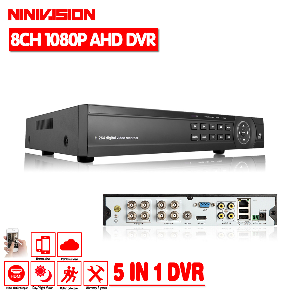 1080P AHD DVR 8 channel HDMI 1080P 8ch Hybrid AHD DVR HVR NVR 5 IN 1 Onvif for security ip camera P2P function CCTV DVR Recorder cctv dvr hvr 16ch ahd nvr 2mp 1080p hybrid digital video recorder rs485 audio in audio out for network ip camera cctv camera