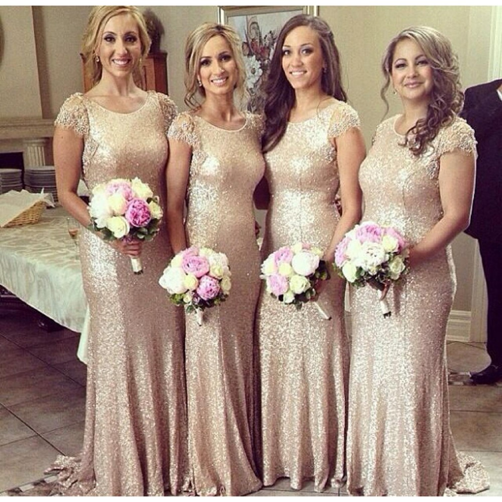 2017 new arrival spring summer girl dress long gold champagne 2017 new arrival spring summer girl dress long gold champagne sequin short sleeves bridesmaid dress plus size in bridesmaid dresses from weddings events ombrellifo Images