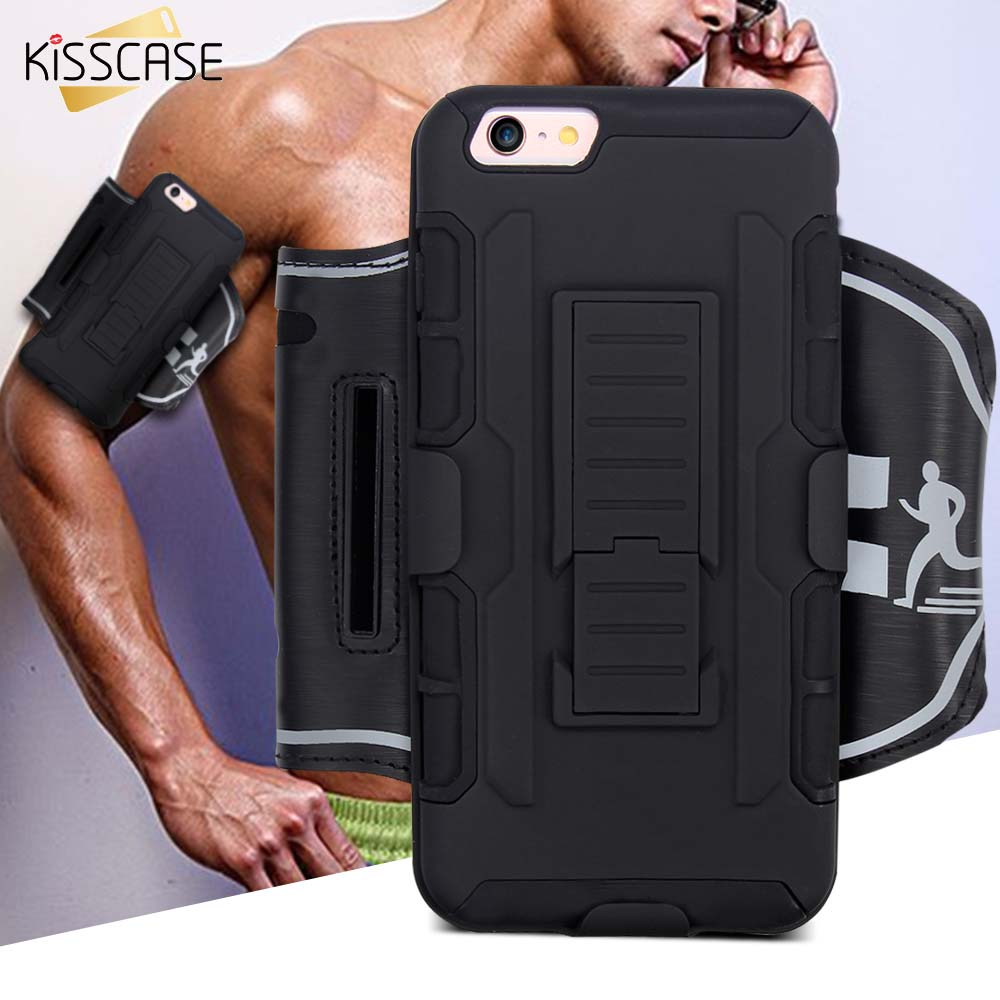 KISSCASE Cool Black 3 in 1 Hybrid Dual Use Arm Band Case Cover For iPhone 6 6S 7 Plus 5 5S SE For Samsung S7 S6 S5 Edge Note 5 4
