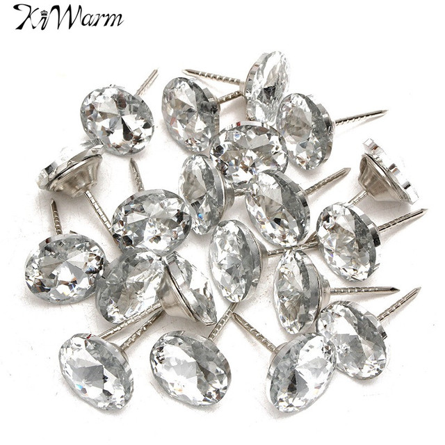 20Pcs New Diamond Pattern Crystal Upholstery Nails Button Tacks ...