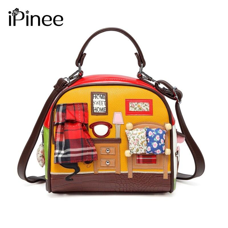 IPinee Fashion Women Shoulder Bag Italy Braccialini Handbag Style Retro Handmade Stylish Woman Messenger Bags