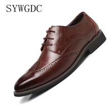 SYWGDC Men Pointed Toe Dress Shoes Men Genuine Leather Black Wedding Shoes Oxford Formal Shoes Office Business Shoes Size 38-48