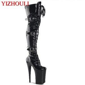 20 Cm Hoge Hakken Hoge Laarzen, Gesp Laarzen Ronde Kop Danser Mode Sexy Catwalk Schoenen Dij Hoge Laarzen(China)