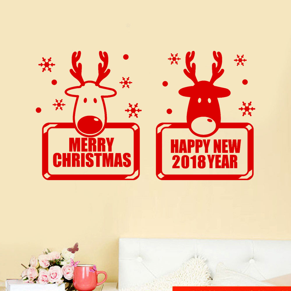 2018 Happy New Year Merry Christmas Wall Sticker Elk Mural PVC ...
