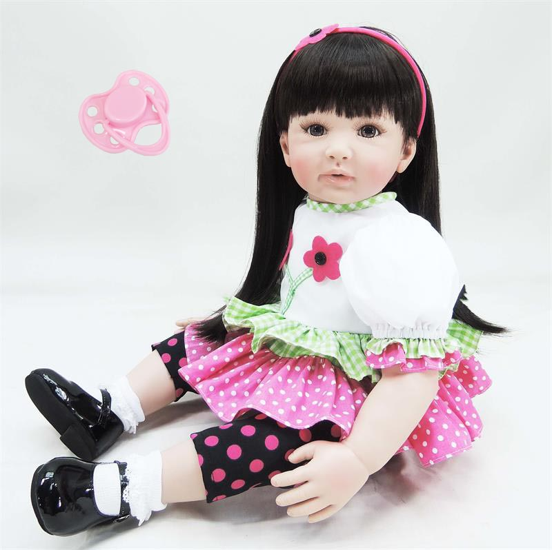 60cm Silicone reborn baby doll toy lifelike 24inch vinyl princess toddler girl babies doll play house bedtime toy birthday gift 60cm silicone vinyl reborn girl baby doll toys 24inch princess toddler babies dolls child fashion birthday gift play house toy