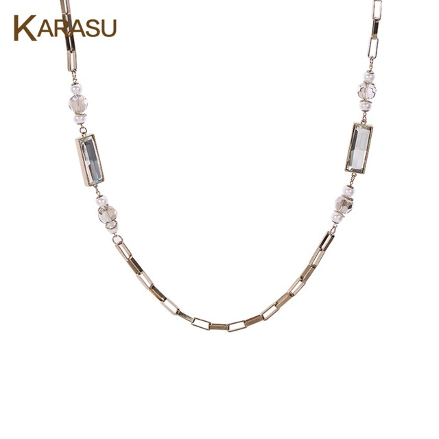 Rectangle Austrian Rhinestone Simulated Pearl Round Bead Long Figaro Chain Bamboo Necklaces & Pendants for Women Jewelry