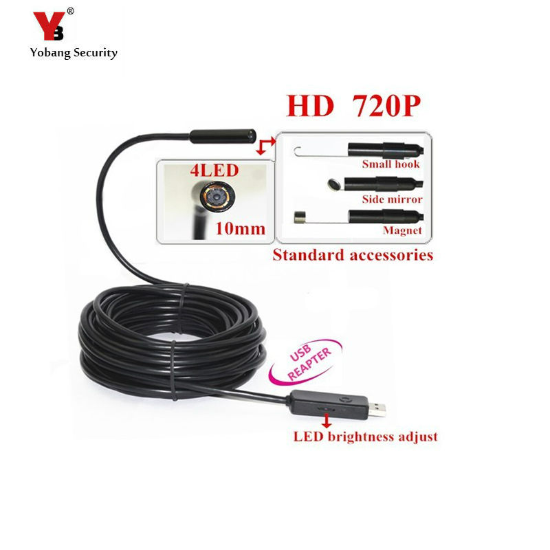 Yobang Security 720P 2MP Waterproof USB Endoscope Borescope Snake Inspection Camera with 10mm Lens 4LED Lights Hook Magnet