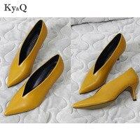 2018 Summer New Pointed Toe Girl Thin Heel Woman Shoes Fashion Deep V Design Lady Shoes Elegant European Women Shoes